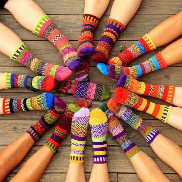A happy circle of Solmate Socks.